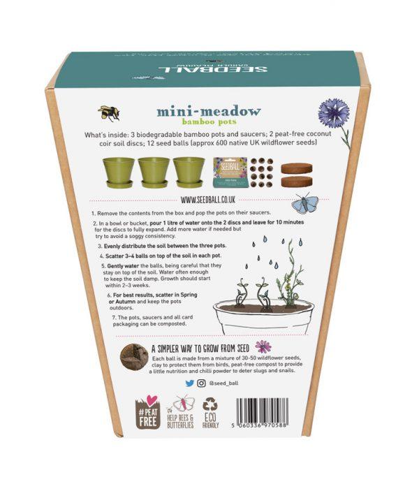 Seedball Mini Meadow Bamboo Pot